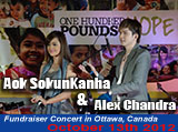 2012-10-13: Fundraiser Concert featuring Aok SokunKanha and Alex Chandra in profit of One Hundred Pounds of Hope in Ottawa, Canada